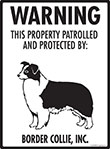 Border Collie! Property Patrolled Sign - 9
