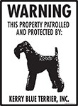Kerry Blue Terrier! Property Patrolled Sign - 9