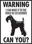 Warning! Kerry Blue Terrier Fence Signs - 9