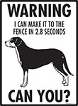 Warning! Greater Swiss Mountain Dog Fence Signs - 9