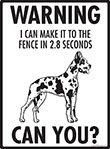 Warning! Harlequin Great Dane Fence Signs - 9