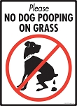 No Dog Pooping on Grass Signs