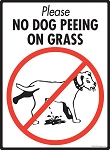 No Dog Peeing on Grass Sign - 9