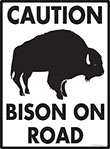 Caution! Bison On Road Sign - 9