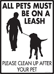 All Pets Must Be On A Leash Signs