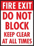 Fire Exit - Do Not Block Sign - 9