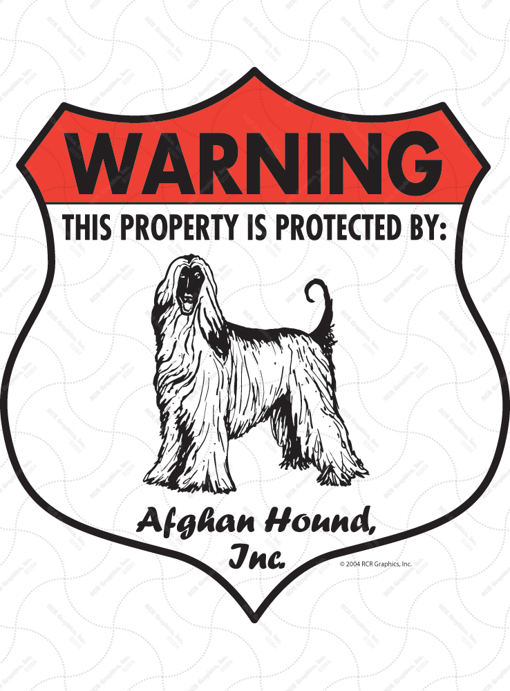Afghan Hound! Property Patrolled Badge Sign and Sticker