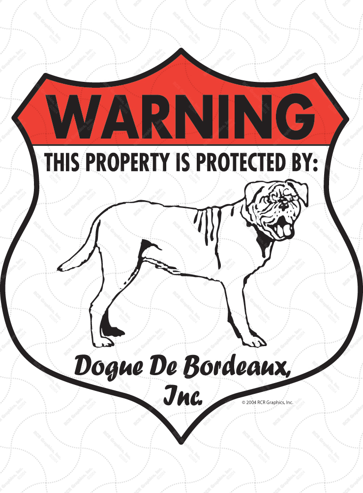 Dogue De Bordeaux Badge Shape Signs