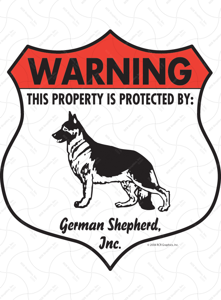 German Shepherd! Property Patrolled Badge Sign and Sticker