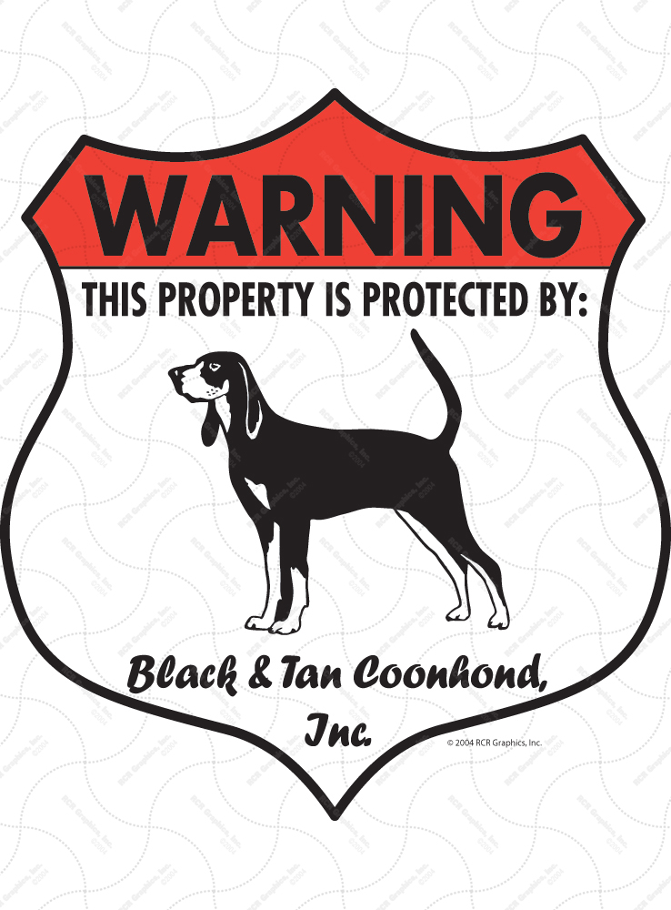 Black and Tan Coonhound Badge Shape Signs