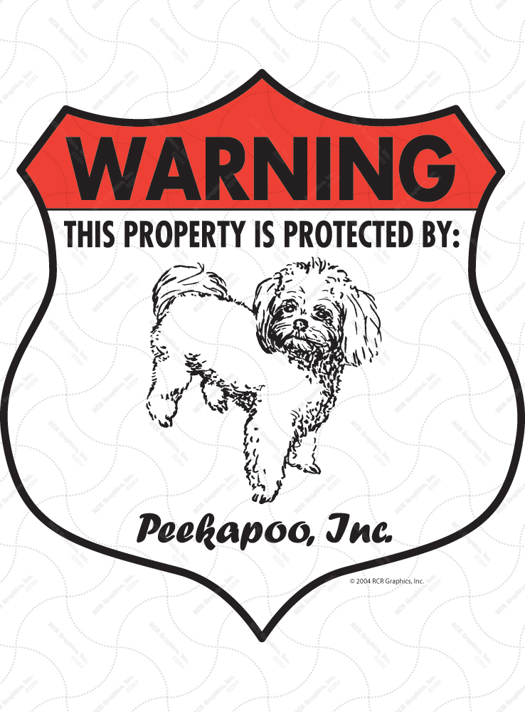 Peekapoo! Property Patrolled Badge Sign and Sticker