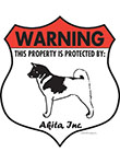 Akita! Property Patrolled Badge Sign and Sticker