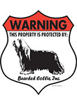 Bearded Collie Badge Shape Signs