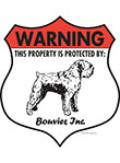 Bouvier des Flandres! Property Patrolled Badge Sign & Sticker
