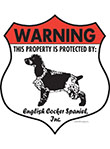 English Cocker Spaniel! Property Patrolled Badge Sign