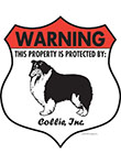 Collie! Property Patrolled Badge Sign and Sticker