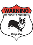 Corgi! Property Patrolled Badge Sign and Sticker