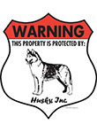 Husky! Property Patrolled Badge Sign and Sticker