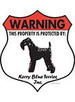 Kerry Blue Terrier! Property Patrolled Badge Sign and Sticker