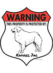 Kuvasz! Property Patrolled Badge Sign and Sticker