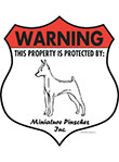 Miniature Pinscher Badge Shape Signs