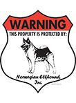 Norwegian Elkhound! Property Patrolled Badge Sign & Sticker