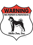 Shiba Inu! Property Patrolled Badge Sign and Sticker