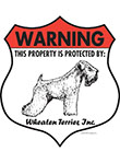 Wheaten Terrier! Property Patrolled Badge Sign and Sticker