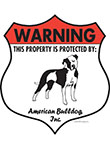 American Bulldog! Property Patrolled Badge Sign and Sticker