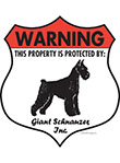 Giant Schnauzer! Property Patrolled Badge Sign and Sticker