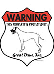 Great Dane! Property Patrolled Badge Sign and Sticker
