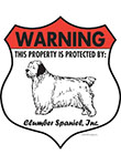 Clumber Spaniel! Property Patrolled Badge Sign and Sticker