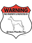 German Pinscher! Property Patrolled Badge Sign and Sticker