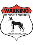 Ibizan Hound! Property Patrolled Badge Sign and Sticker