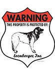 Leonberger! Property Patrolled Badge Sign and Sticker