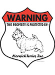 Norwich Terrier! Property Patrolled Badge Sign and Sticker