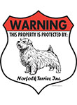 Norfolk Terrier! Property Patrolled Badge Sign and Sticker