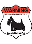 Scottish Terrier! Property Patrolled Badge Sign and Sticker