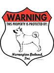 Norwegian Buhund! Property Patrolled Badge Sign and Sticker