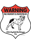 Olde English Bulldogge Badge Shape Signs