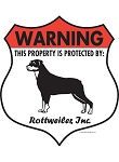Rottweiler! Property Patrolled Badge Sign and Sticker