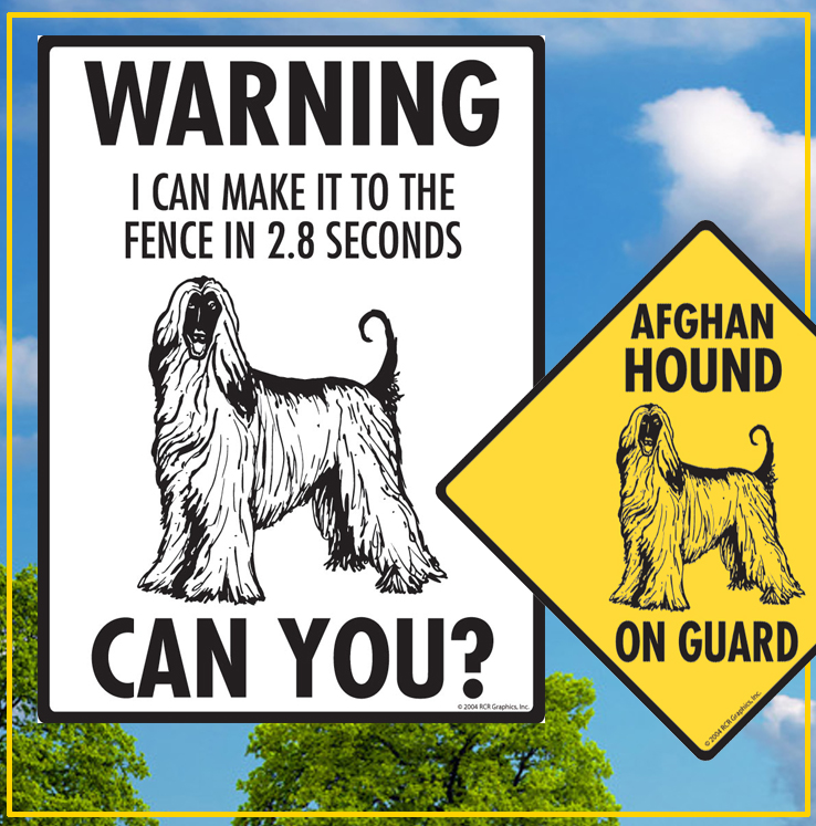 Afghan Hound Dog Signs