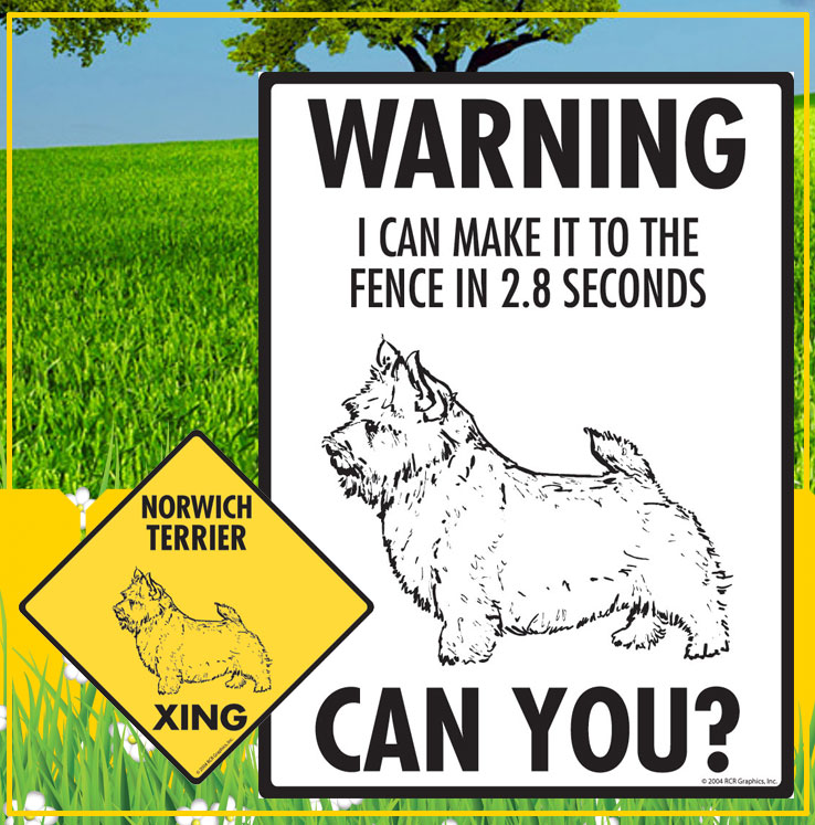 Norwich Terrier Dog Signs