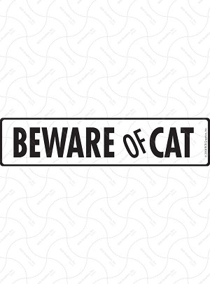 Beware of Cat Sign or Sticker