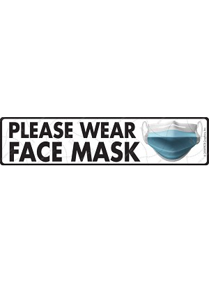 "Please Wear Face Mask Exterior Aluminum Sign or Vinyl Sticker - 12"" x 3"""