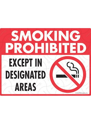 Smoking Prohibited - Except Designated Areas Sign