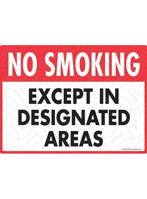 No Smoking - Except in Designated Areas Sign