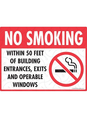 No Smoking within 50 Feet of Building Sign