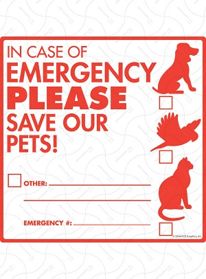 Pet Emergency - Please Rescue from Fire Signs and Sticker