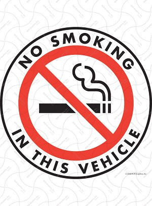 No Smoking in This Vehicle Vinyl Sticker